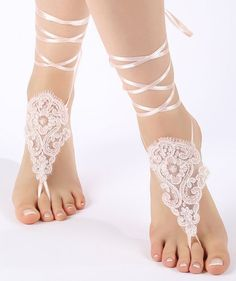 Free Ship ivory or blush , lariat sandals, laceBarefoot Sandals, french lace, Beach wedding barefoot sandals