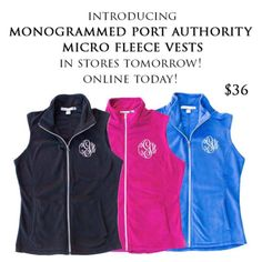 We are so excited about these micro fleece vests!! www.jewelboxonline.com