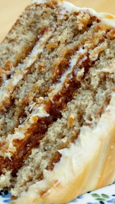 Salted Caramel Layer Cake Recipe ~ Layers of brown sugar cake filled and topped with caramel frosting and a drizzle of fresh caramel & fleur de sel. decadent, delicious and almost sinful! A REAL CARAMEL CAKE Just Desserts, Delicious Desserts, Dessert Recipes, Yummy Food, Dessert Food, Gourmet Desserts, Dessert Tables, Plated Desserts, Dinner Recipes
