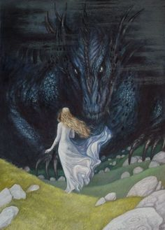 """Nienor climbed Amon Ethir to await Mablung's return, but it was Glaurung at the hilltop. """"He [Glaurung] put forth his power, and having learned who she was he constrained her to gaze into his eyes, and he laid a spell of utter darkness and forgetfulness upon her, so that she could remember nothing that had ever befallen her, nor her own name, nor the name of any other thing; and for many days she could neither hear, nor see, nor stir by her own will."""""""