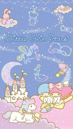 夜空のグッズ☆ ★Little Twin Stars★My sister had heaps of this. My Melody Wallpaper, Sanrio Wallpaper, Star Wallpaper, Hello Kitty Wallpaper, Little Twin Stars, Little Star, Cute Backgrounds, Cute Wallpapers, Hello Kitty My Melody