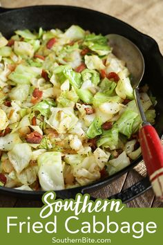 This classic recipe for Southern Fried Cabbage is a family favorite and is the perfect side dish for nearly any menu! The post Southern Fried Cabbage appeared first on Tasty Recipes. Recipe For Southern Fried Cabbage, Southern Recipes, Recipes For Cabbage, Southern Side Dishes, Green Bean Recipes, Southern Food, Cabbage And Bacon, Sauteed Cabbage, Clean Eating