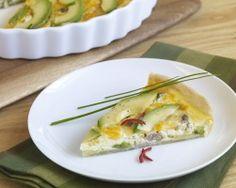 Avocado, sausage, onion & jalapeno colby cheese quiche