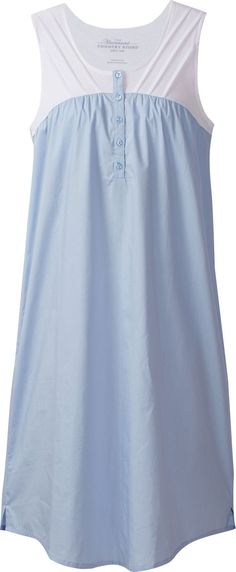 Broadcloth and Knit Nightgown: For women who love both the stretchy comfort of knit and cool crispness of broadcloth, this cotton nightgown is a win-win. Lingerie Sleepwear, Nightwear, Pyjamas, Pijamas Women, Nightgown Pattern, Blouse Models, Nightgowns For Women, Estilo Retro, House Dress