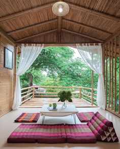 a-bamboo-house-embraced-by-nature/ - The world's most private search engine Balcony Furniture, Furniture Layout, Furniture Nyc, Furniture Market, Leather Furniture, Furniture Arrangement, Cheap Furniture, Village House Design, Village Houses