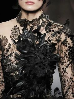 Valentino/ black lace flower dress