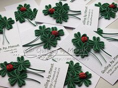 Four Leaf Clovers with Ladybug Paper Quilling Designs, Quilling Paper Craft, Quilling Cards, Paper Crafts, Diy Crafts, Quilling Dolls, Quilling Flowers, Origami, St Patricks Day Cards