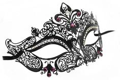 Violet Crystal and Purple Jeweled Laser Cut Masquerade Ball