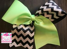 Neon Green and Black and White Chevron Tic Toc Cheer Bow by LivinTheBowLife on Etsy