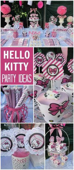 Such a pretty and stylish Hello Kitty party! See more party ideas at CatchMyParty.com!
