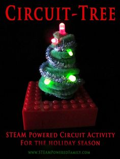 Circuit-Tree - A STEAM powered activity that involves building basic circuitry to create a festive tree for the holidays. Stem Projects, Science Projects, Projects For Kids, Preschool Projects, Steam Activities, Science Activities, Science Experiments, Teaching Science, Educational Activities