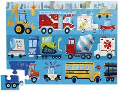 Vehicles Shaped Box 36 Piece Floor Puzzle