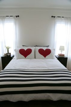 Home Design and Interior Design Gallery of Beautiful Red Heart DIY Accent Pillows Romantic Bedroom Bed Cover Design, Pillow Design, Romantic Bedroom Decor, Heart Pillow, Diy Pillows, Accent Pillows, Home Bedroom, Bedrooms, Diy Home Decor