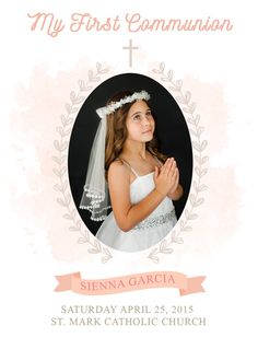 Professionally Printed First Communion remembrance cards, invitations or thank you card - 4 x 5-1/2 or 4 x 8