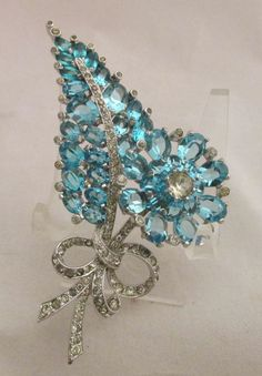 Vintage Mazer Flower&Leaf Pin Brooch Open Back Prong Set Icy Blue Rhinestones #Mazer