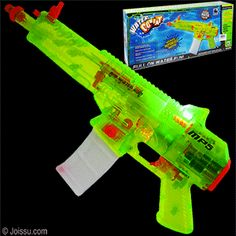 "ELECTRIC WATER COMBAT GUNS. This is the most amazing water gun ever. Just pull the trigger for a light-up automatic water rifle with jet propulsion that shoots water up to 20 feet! 4 ""AA"" batteries required - not included. Each gift boxed.  Size 16 Inches"
