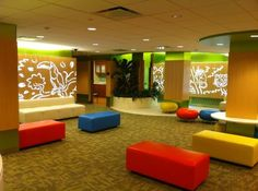 The jungle-themed waiting area of the renovated pediatric emergency department at CDH.