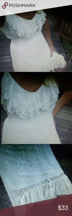 Sexy white lace maxi dress ruffles M Medium stretch lace spaghetti strap maxi dress. ..knee length front...ankle length back Dresses Maxi