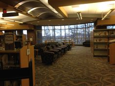 Cozy reading area near windows