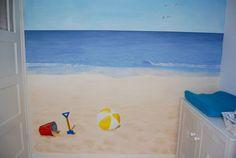 Babykamer strand & zee muurschildering -   Baby room beach mural