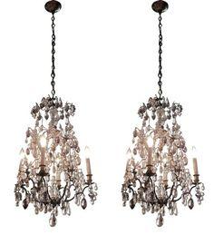 Pair of clear & amethyst Louis XVI style chandeliers