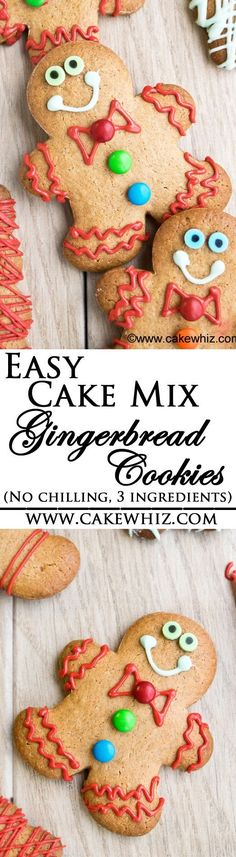 These are the easiest CAKE MIX GINGERBREAD COOKIES ever! You only need 3 ingredients! No chilling required and perfect cut out shapes every single time! From http://cakewhiz.com