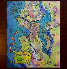 Fantasy Map of Seattle Fantasy Map, Final Fantasy, Seattle Neighborhoods, Frozen Art, Magic Cards, Fantasy Landscape, Wall Decorations, The Gathering, Digital Prints