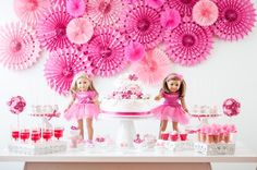 Such a fun American Girl Doll 9th birthday party with via Kara's Party Ideas | Cake, decor, cupcakes, games and more! KarasPartyIdeas.com #americangirldoll #girlyparty #pinkparty (16)