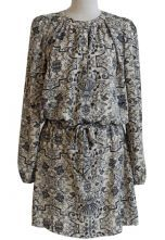 Apricot Long Sleeve Drawstring Floral Chiffon Dress 0.00