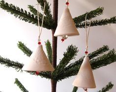 Porcelain Bells  Christmas Ornaments  Set of 3  by JustMare