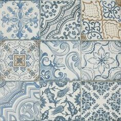 Shop for Blue Memory Porcelain Wall and Floor Tile - 24 x 24 in. at The Tile Shop. Decorative Wall Tiles, White Subway Tiles, Small Tiles, The Tile Shop, Spanish Tile, Blue Tiles, Wall And Floor Tiles, Wall Patterns, Porcelain Tile