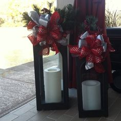 Outdoor lanterns decorated for Christmas.