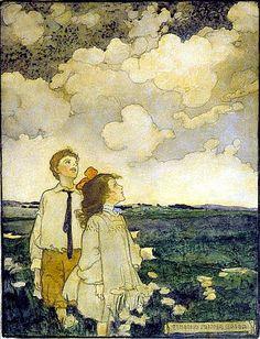 Elizabeth Shippen Green, Two Children Watching the Clouds in a Field