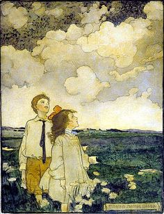 Elizabeth Shippen Green, Two Children Watching the Clouds in a Field