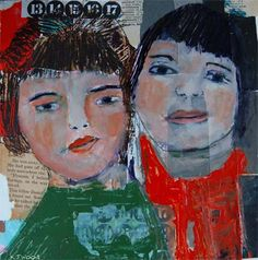 acrylic canvas collage | Acrylic Portrait Collage Painting, Doris and Mindy, 10x10 Original ...