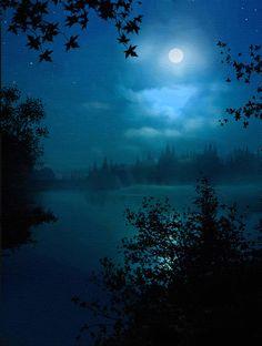 Robert Foster Art - Night Lake by Robert Foster Fine Art Amerika, Moon Pictures, Moon Pics, Lake Painting, Night Forest, Lake Art, Night Time, Art Night, Night Owl