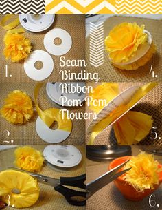 seam-binding-pom-poms and also on this page - bakers twine pom pom's
