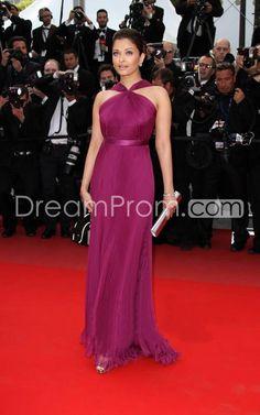 Chiffon Sheath/ Column Floor-length Evening Dress inspired by Aishwarya Rai at Cannes Film Festival