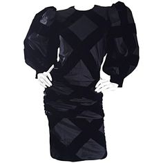 Vintage Givenchy Haute Couture Numbered Black Silk Avant Garde 1980s 80s Dress 1
