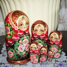 Nesting doll Flowers on a red shawl matryoshka dolls Signed Unique Hand Painted #HANDMADE