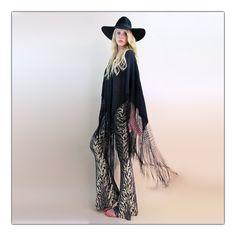 Badass silk fringed poncho
