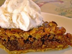 Old-Fashioned Pecan Pie from Cooks Country- no corn syrup!  It is sooooo good.  Best pecan pie ever!!  Josh and I loooovvveee it!