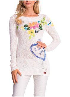 Desigual Damen Woman Pullover Strickpullover ***JERS_FLOWERS *** 51J21C1 creme langarm longsleeve: Amazon.de: Bekleidung