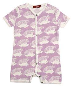 Lavender Hedgehog Organic Shortall Multiple colors available Sweet Acorn Baby Romper