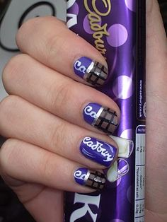 Real Cadbury or Bust: Art For Coping With the British Chocolate Shortage - Worship The Brand - Worship The Brand Fabulous Nails, Perfect Nails, Gorgeous Nails, Beautiful Nail Designs, Cute Nail Designs, Cadbury Chocolate Bars, Chocolate Dreams, Chocolate Lovers, Chocolate Desserts
