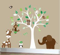 Vinyl wall decal - nursery white tree wall decal -