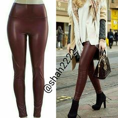 """Wine faux leather leggings high waisted New Sexy NWT, Wine / Burgundy Faux leather leggings. High waist Medium weight Lightly soft Fleece-lined These are Very Stretchy Fabric Content : 65% Polyester + 35% Cotton  Measurements taken while laying flat Unstretched to stretched  Inseam : 27-28"""" Total Length : 38-39"""" Front Rise : 12"""" Back Rise : 14""""  Small Waist : 11-13"""" Medium Waist : 12-14"""" LargeWaist : 13-15"""" XL Waist : 14- 16""""  OTHER COLORS AND SIZES ARE AVAILABLE IN MY CLOSET.   *Price is…"""