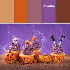 Group of Halloween cupcakes and decorations Color Palette #392 – Ave Mateiu - Fall Autumn 2020, color palette, color palettes, colour palettes, color scheme, color inspiration, color combination, art tutorial, collage, digital art, canvas painting, wall art, home painting, photography, weddings by color, inspiration, vintage, wallpaper, background, rustic, seasonal, season, natural, nature