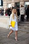 25 Shirtdress Outfit Ideas for Spring - a crisp white shirtdress styled with a white leather jacket, silver metallic ankle strap heels, and a yellow oversized clutch Shirtdress Outfit, Estilo Blogger, Fashion Blogger Style, Girl Fashion, Fashion Outfits, Fashion Bloggers, Woman Outfits, Fashion Story, Fashion 2018