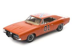 This Dodge Charger `General Lee` Diecast Model Car from Dukes of Hazzard is Orange and features working wheels and also opening bonnet with engine, boot, doors. It is made by Green Light Collectibles and is 1:18 scale (approx. 27cm / 10.6in long).    The Dukes of Hazzard TV series followed the adventures of two good old boys, Bo and Luke Duke, living in an wild area of the fictional Hazzard County, racing around in their modified 1969 Dodge Charger 'The General Lee', evading corrupt Boss…